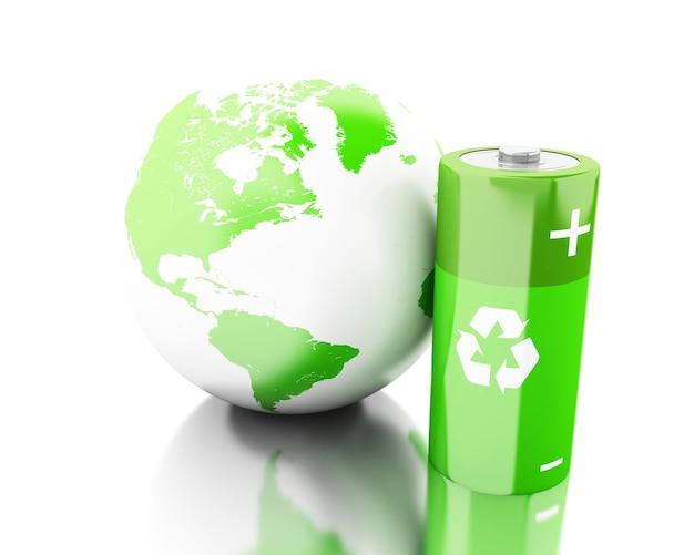 Grüne batterie 3d mit wiederverwertungssymbol und erdkugel Premium Fotos