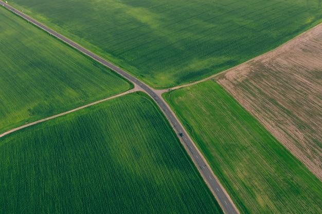 Grüne felder mit weizen und einer autobahn zwischen ihnen. landwirtschaft mit höhe Premium Fotos