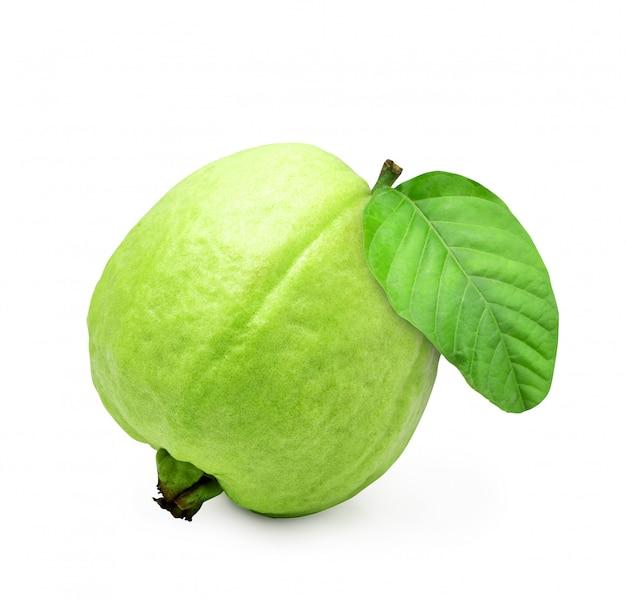 Grüne frische guavenfrucht lokalisiert auf weißem hintergrund Premium Fotos