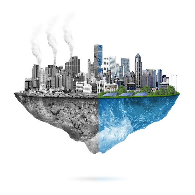 Grüne ökologie vs. verschmutzung Premium Fotos