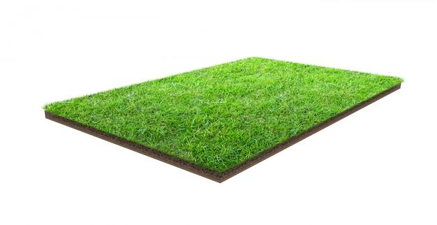 Grüne rasenfläche lokalisiert auf weiß mit beschneidungspfad. sportplatz. sommer teamspiele. Premium Fotos