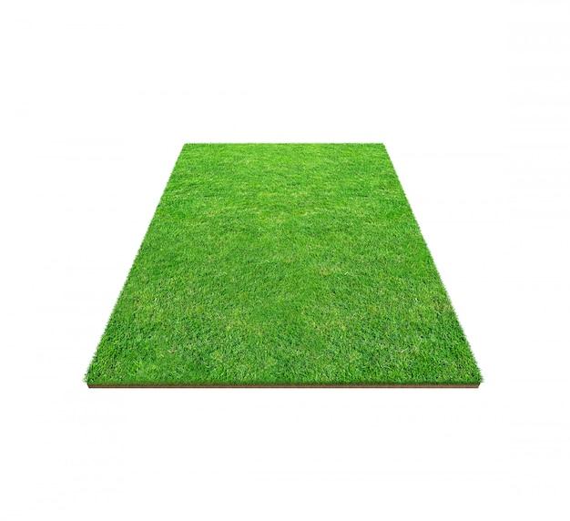 Grüne rasenfläche lokalisiert auf weiß mit beschneidungspfad. Premium Fotos