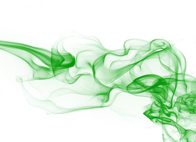 Grüne rauchbewegungszusammenfassung auf weißem hintergrund Premium Fotos
