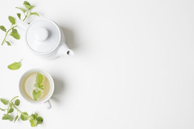 Grüne tadellose blätter und teecup mit der teekanne lokalisiert auf weißem hintergrund Kostenlose Fotos