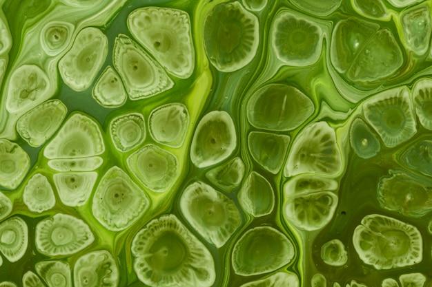 Grüne wellen und blasen des flüssigen acryls gießen malerei Kostenlose Fotos