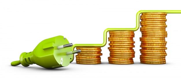 Grüner stecker und stapel von münzen nach europäischem standard. 3d rendern Premium Fotos