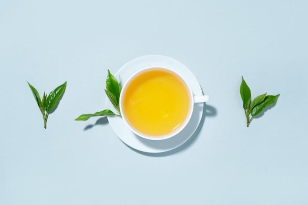 Grüner tee in tasse mit teeblättern auf blauem pastellhintergrund gebraut. draufsicht. Kostenlose Fotos