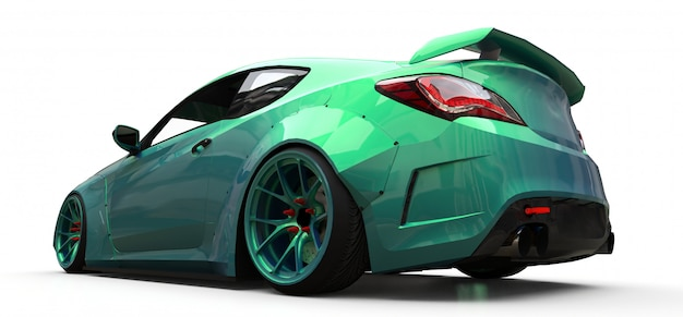 Grünes kleines sportwagencoupé Premium Fotos