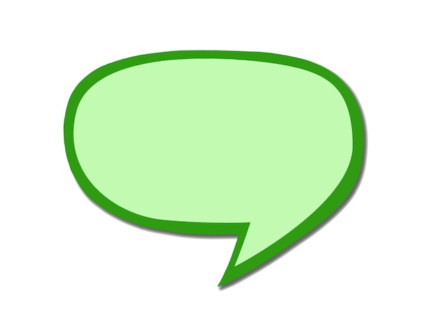 Grünes sprachblasenzeichen als wolke lokalisiert auf weißem hintergrund. leeres olivenmassagesymbol für chat mit kopierraum. Premium Fotos