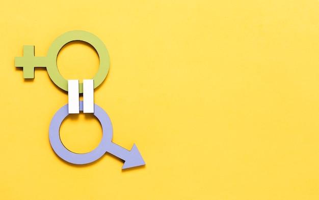 Grünes weibliches und blaues männliches geschlechtssymbol-qualitätskonzept Kostenlose Fotos