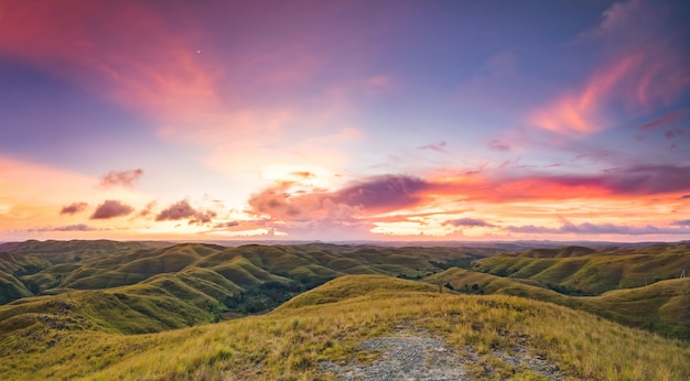Grünland auf dem sonnenuntergangshimmelhintergrund. indonesien. Premium Fotos