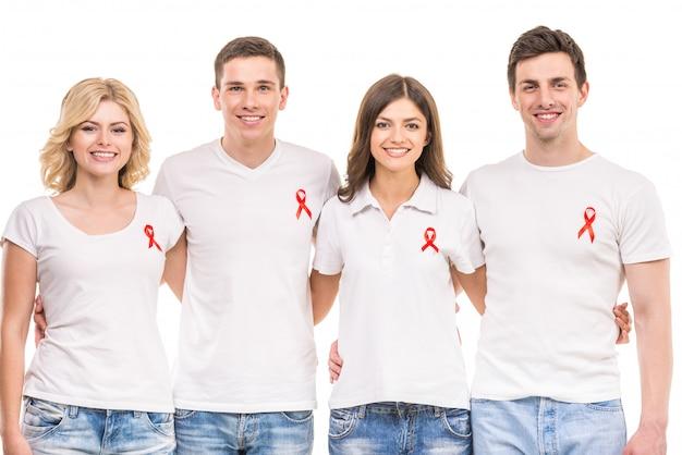 Gruppe positive leute, die aids hiv verhinderung stützen. Premium Fotos