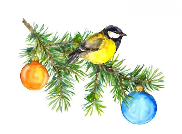 Grußkarte mit meise und weihnachtsbaum, neues jahr Premium Fotos