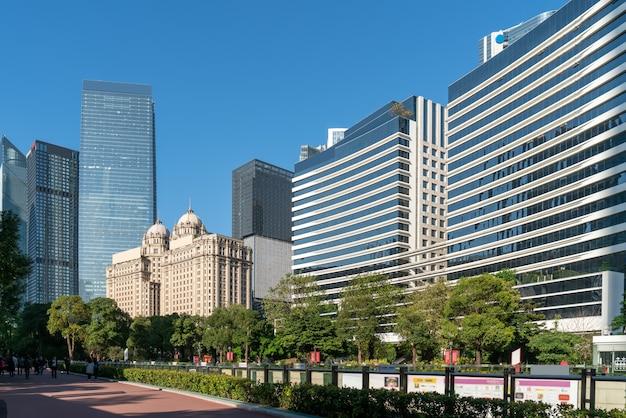 Guangzhou cbd moderne architekturlandschaft Premium Fotos