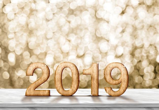 Guten rutsch ins neue jahr 2019 (wiedergabe 3d) auf grauer marmortabelle am goldschein bokeh Premium Fotos