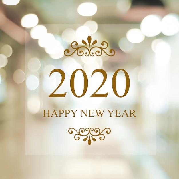 Guten rutsch ins neue jahr 2020 auf unschärfezusammenfassungslichtern Premium Fotos