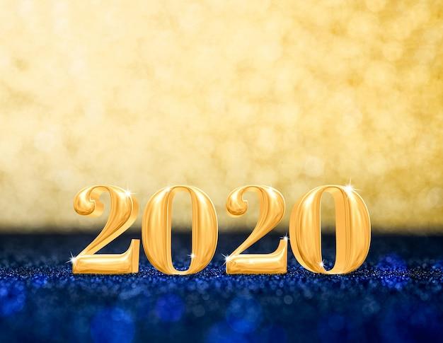Guten rutsch ins neue jahr 2020-jährig am funkelnden goldenen und marineblau-glitter Premium Fotos