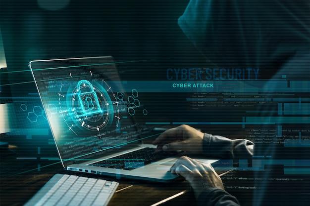 Hacker, der an einem code und einem netzwerk arbeitet Premium Fotos