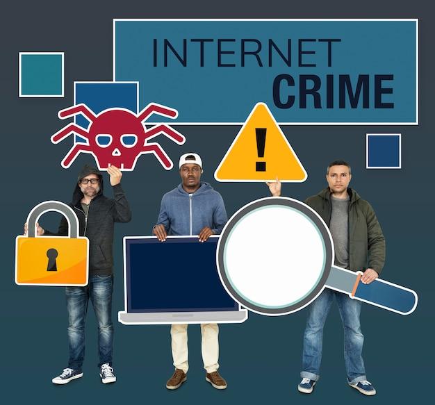 Hacker mit internet-verbrechen-symbolen Premium Fotos