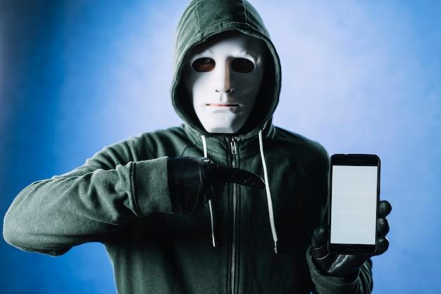 Hacker mit smartphone-vorlage Kostenlose Fotos