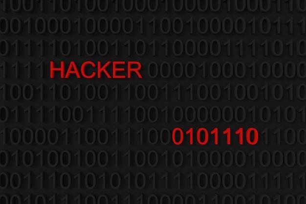 Hackerwort auf binärem hintergrund. Premium Fotos