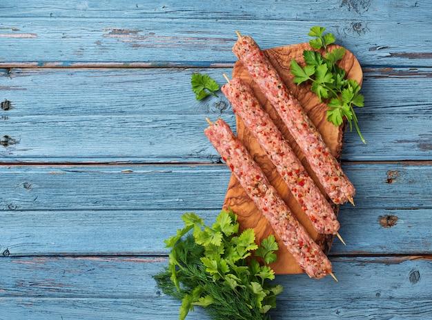 Hackfleischspieße lula kebab Premium Fotos