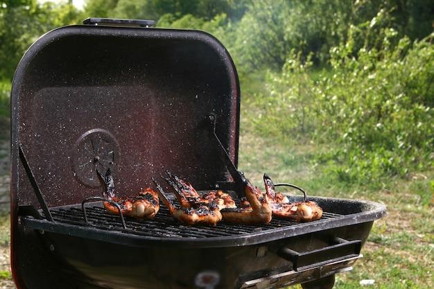 Hähnchenschenkel auf dem grill Kostenlose Fotos