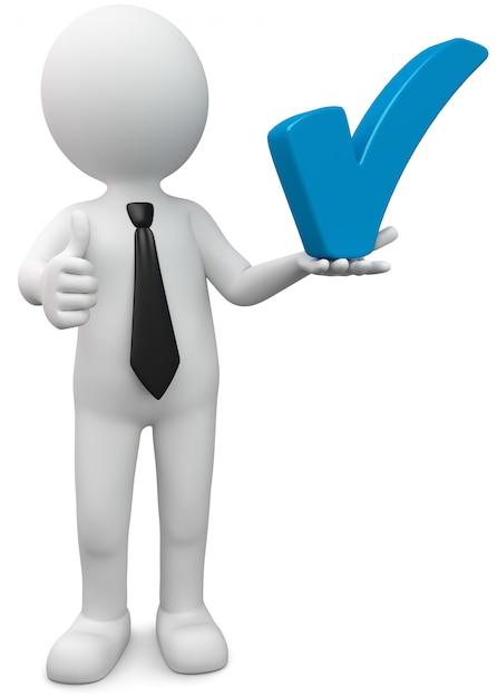 Hält weißer mann der illustration blauen haken Premium Fotos