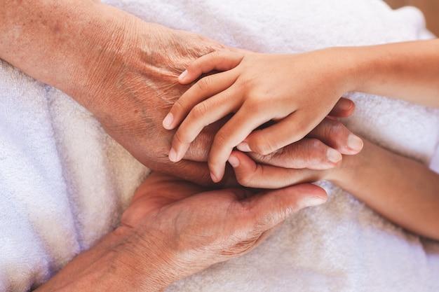 Hände des asiatischen kindermädchens, das ältere großvaterhände hält, knitterten haut mit gefühlssorgfalt und -liebe Premium Fotos