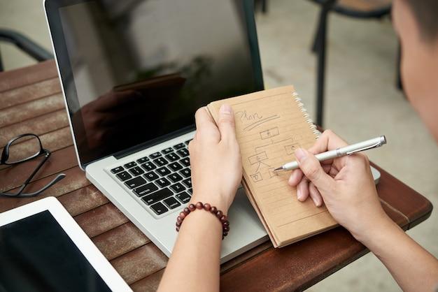 Hände des unerkennbaren mannes bei tisch sitzend mit laptop und diagramm im notizbuch zeichnend Kostenlose Fotos
