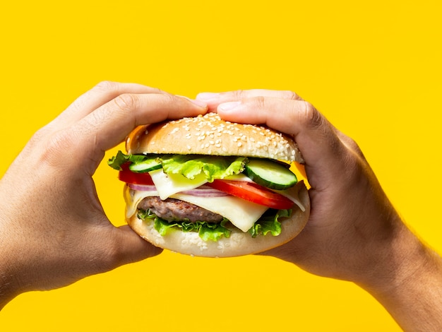 Hände, die cheeseburger mit samen halten Kostenlose Fotos