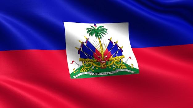 Haiti-flagge, mit wellenartig bewegender gewebebeschaffenheit Premium Fotos