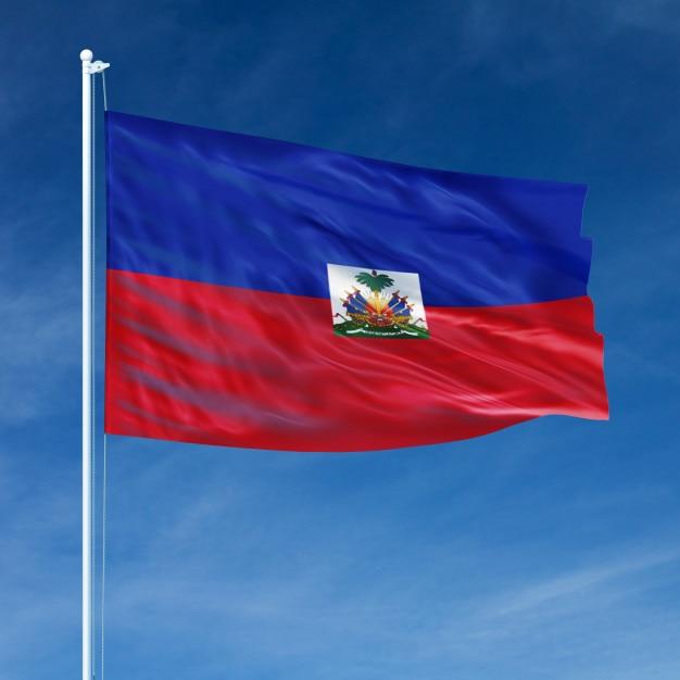 Haiti-flaggen-fliegen Premium Fotos