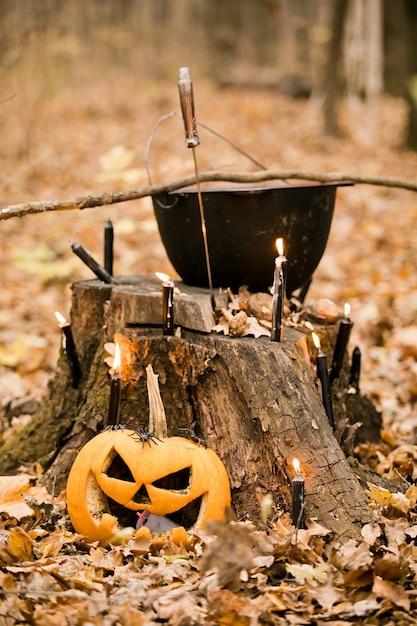 Halloween-dekorationen im wald: kessel, kürbis, kerzen und dolch. drei alte hexen führen ein magisches ritual durch Premium Fotos
