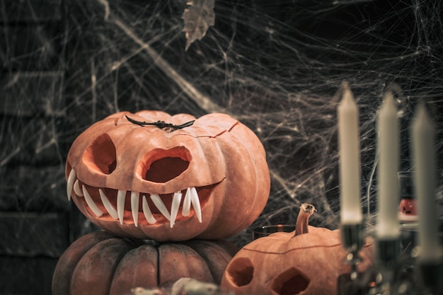Halloween, dekorelemente und attribute des urlaubs. Kostenlose Fotos