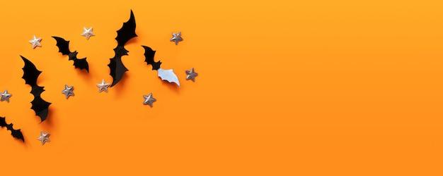 Halloween-fahne mit schwarzem aber auf einer orange oberfläche, draufsicht Premium Fotos