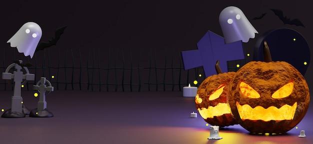 Halloween-szene mit leerem raum für partyeinladung, soziale medien und modell. Premium Fotos