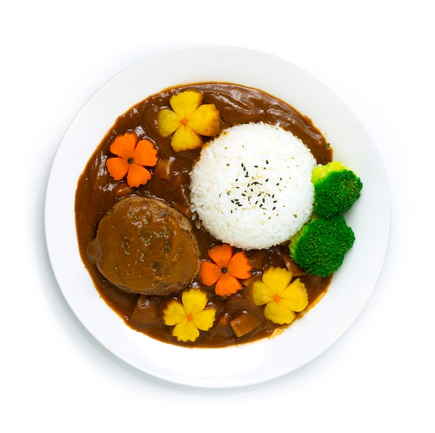 Hamburger curry reis japanische hambagu curry sauce Premium Fotos