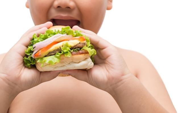 Hamburger in beleibter fetter jungenhand Premium Fotos