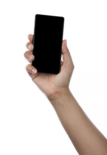 Hand, die schwarzes telefon getrennt auf weiß anhält Premium Fotos