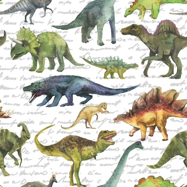 Hand gezeichnetes nahtloses muster mit dinosaurus. dinomuster realistisch. Premium Fotos