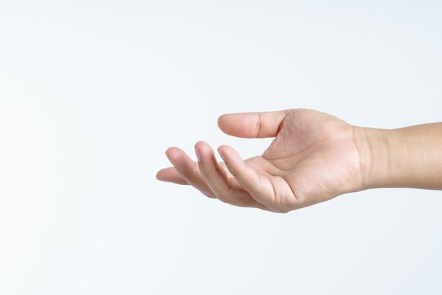 Hand mit gesten geben oder teilen Premium Fotos