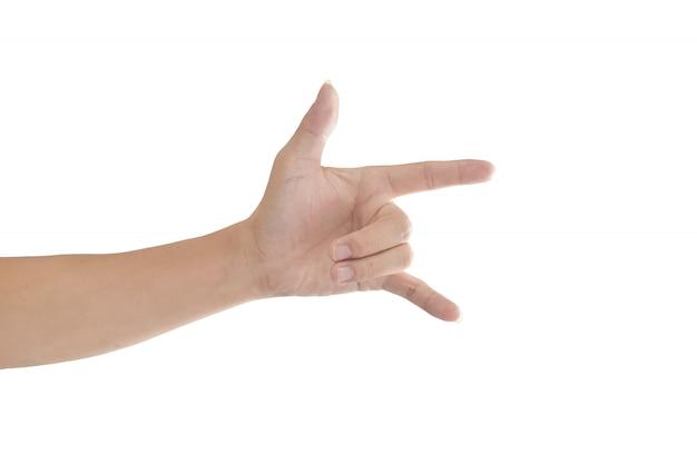 Hand mit ich liebe dich zeichen lokalisiert auf weißem hintergrund mit beschneidungspfad. Premium Fotos
