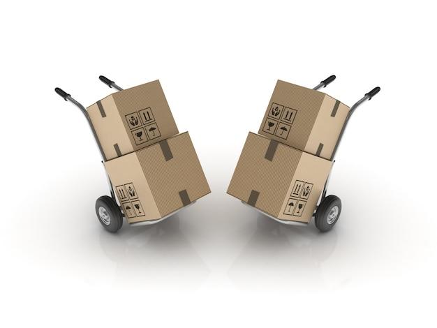 Hand trucks auf weiß Premium Fotos