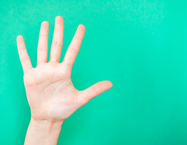 Hand zeigt stoppschild Premium Fotos