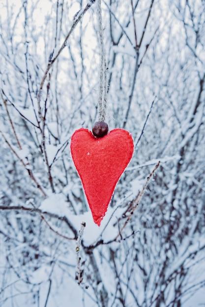 Handgemachtes rotes woolen filzherz, das an der schneebedeckten niederlassung hängt Premium Fotos