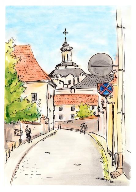 Handgemalte skizze der stadtstraße von vilnius Premium Fotos