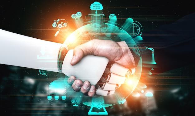 Handshake eines humanoiden 3d-renderings zur zusammenarbeit mit zukünftigen technologien Premium Fotos