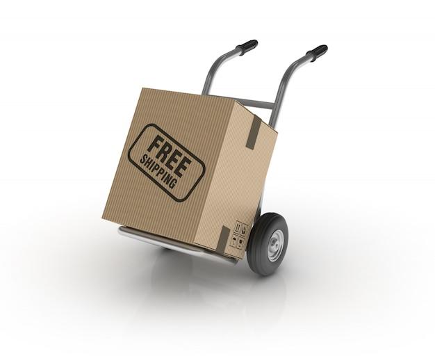 Handwagen mit kostenlosem versandetikett Premium Fotos