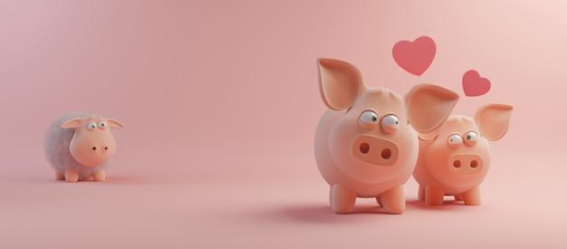 Happy valentines day und jäten design-element. rosa hintergrund. 3d-rendering Premium Fotos